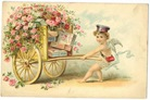 vintage Victorian valentine card cherub messenger pulling cart with roses