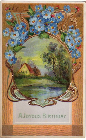 Free Vintage Birthday Card Country Lake Scene Blue Flowers