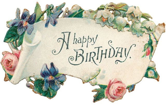 Free Vintage Birthday Card Scroll With Pink Roses And Blue Flowers