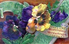 free vintage birthday cards yellow and purple pansies