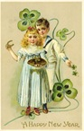 free vintage happy new year cards four-leaf clovers horseshoe boy girl