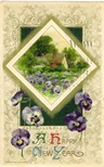 free vintage happy new year cards pansies country scene