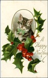 free vintage happy new year cards striped cat holly