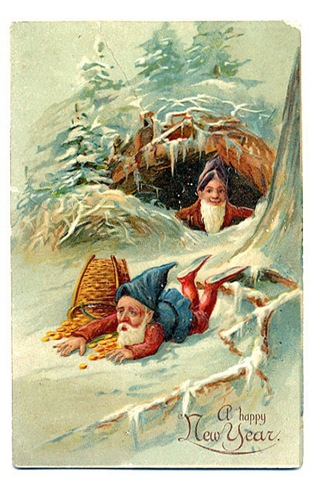 free vintage happy new year greeting cards elves with spilled basket of gold