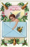 free vintage new year cards angel with envelope and holly