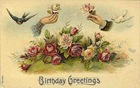 Victorian vintage roses free birthday card birds hands