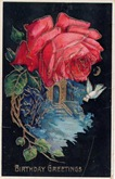vintage birthday card red rose