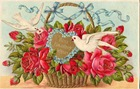vintage birthday card two doves red roses blue ribbons basket