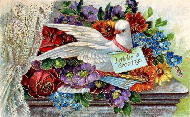 wishes card with dove and lace