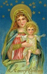 vintage christmas card Jesus and Mary stars