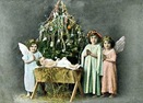 vintage Christmas children manger scene photo