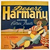 vintage fruit crate labels Desert Harmony Arizona citrus fruits V.R. Harmon