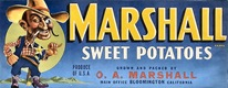 vintage fruit crate labels marshall sweet potatoes o.a. marshall