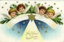 vintage happy new year greeting cards stars and four angels