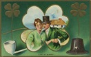 a bit of blarney happy Irish couple with shamrocks vintage greeting card