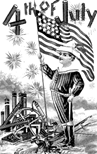 Fourth of July patriotic coloring page American flag and fireworks
