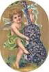 free vintage angel playing cello made of flowers clip art
