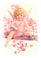 free vintage cupid in tree with cherry blossoms bow and arrows