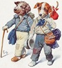 free vintage dog art two hobo dogs walking