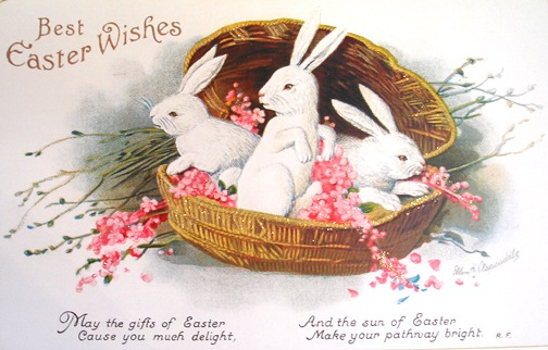 Free Printable Vintage Easter Bunnies Greeting Cards