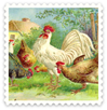 free vintage Easter clip art chickens stamp