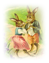 free vintage Easter clip art dancing bunnies