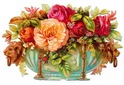 free vintage flower clipart peach and pink cabbage roses in Victorian container