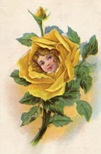 free vintage flowers yellow rose clip art with womans face