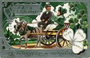free vintage Irish couple in carriage with shamrocks St. Patricks Day greeting card