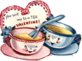 free vintage kids valentine card two teacups ruffle heart blue flowers