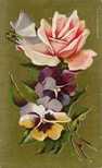 free vintage pink cabbage rose clipart with pansies