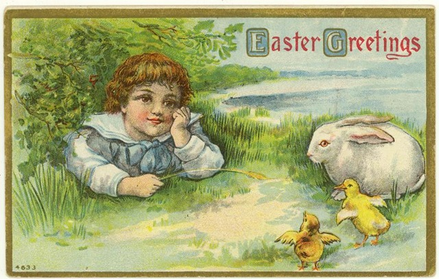 free vintage printable greeting card little boy with easer bunnyand yellow baby chicks jpg 640x408 free
