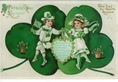 free vintage Saint Patricks Day greeting card with two kids dancing shamrocks