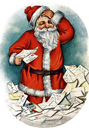 free vintage santa claus worrying about Christmas letters from children