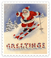 free vintage Santa on skis clip art