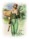 free vintage St. Patricks Day clip art leprechaun with bindle and sheleleigh