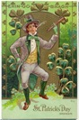 free vintage St. Patricks greeting card lad dancing with shamrocks