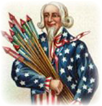 free vintage July 4th clip art--Uncle Sam with fireworks
