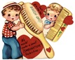free vintage valentine card boy and girl dont give me the brush-off