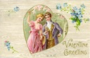 free vintage valentine card happy couple in heart with forget me nots wood background