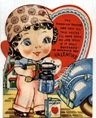 free vintage valentine card little girl painting car