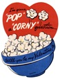 free vintage valentine card popcorn and red heart