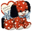 free vintage valentine card red puppy blue bow