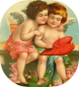 free vintage valentines day clip art two cupids painting a red heart