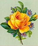 free vintage yellow rose with blue flowers