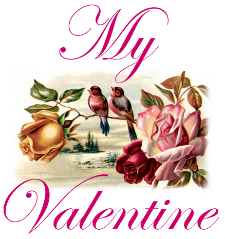 ... My Valentine Free Vintage Clip Art With Lovebirds And Roses