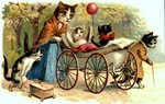 vintage cat art mother cat with kittens dressed with baby carriage