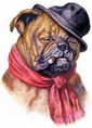 vintage dog art bulldog smoking a cigar wearing a black hat