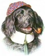 vintage dogs free clip art black spaniel smoking a pipe wearing a checkered hat
