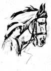 vintage horse coloring page woman with hat
